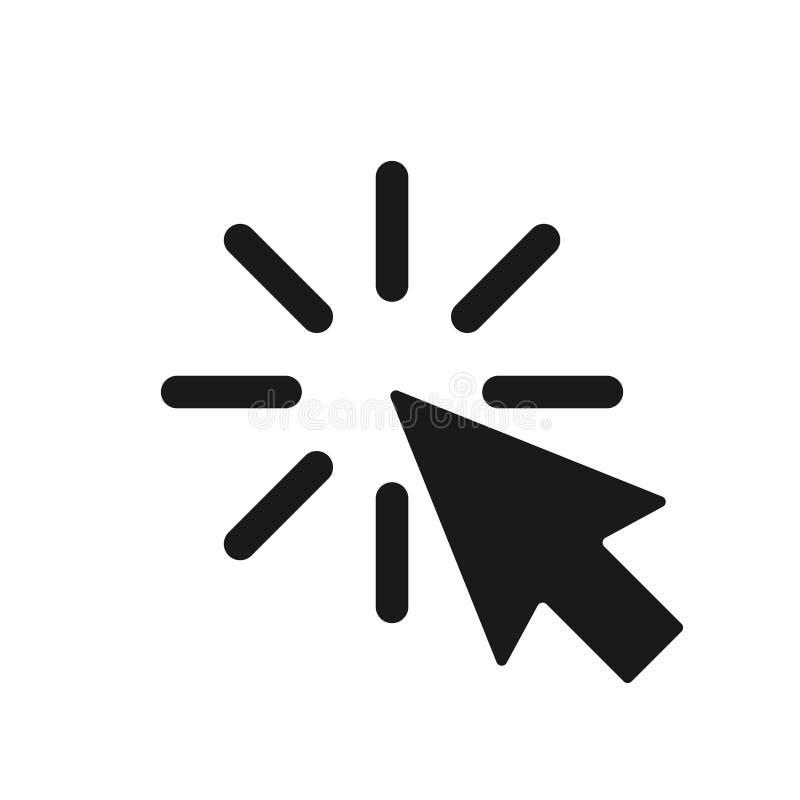 Markör med att klicka grafiskt symbol som isoleras på vit bakgrund royaltyfri illustrationer