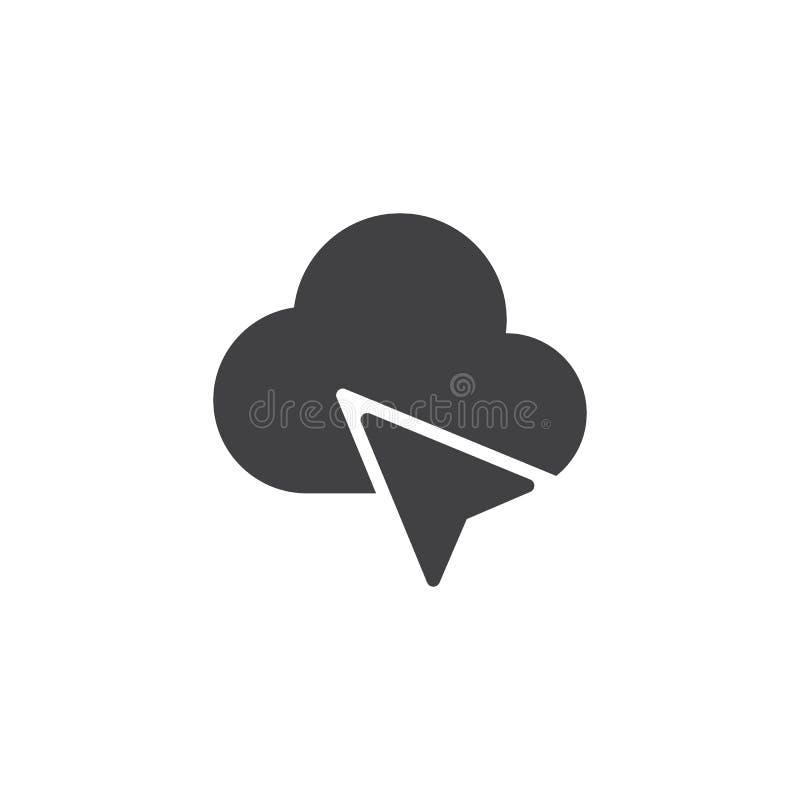 Markör- och molnvektorsymbol royaltyfri illustrationer