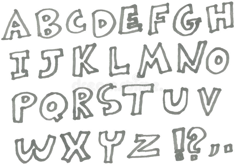 Marköralfabet royaltyfri illustrationer