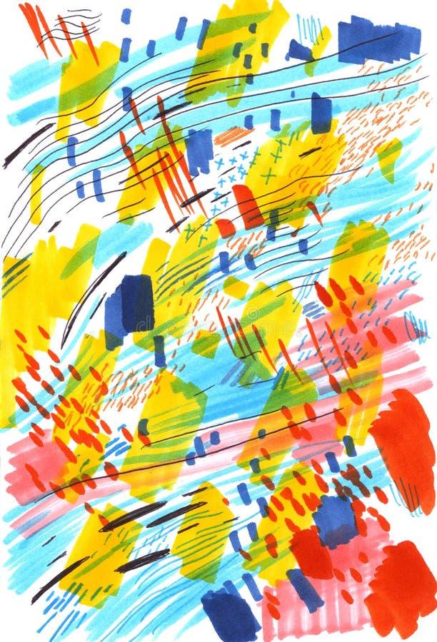 Markören skissar, abstrakt mångfärgad bakgrund som göras med, klottrar, fläcken, kanjonslaglängder Stor designbeståndsdel för vektor illustrationer