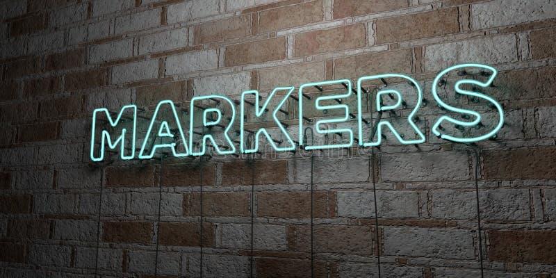 MARKÖRER - Glödande neontecken på stenhuggeriarbeteväggen - 3D framförde den fria materielillustrationen för royalty stock illustrationer
