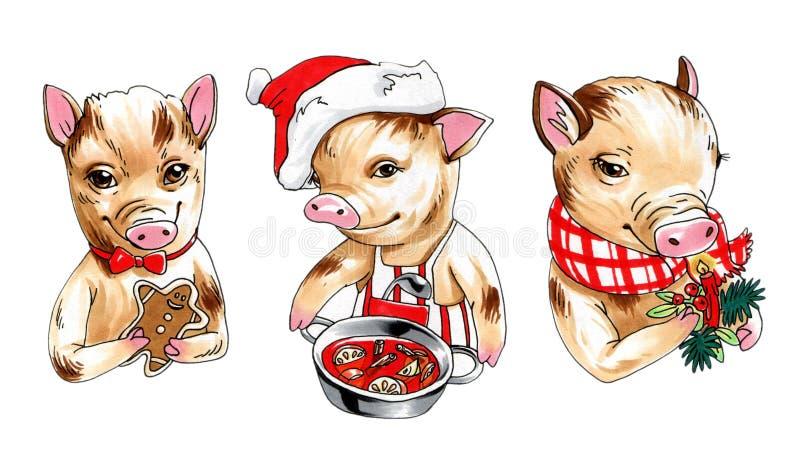 Markörillustrationsamling av mini- svin med dekoren, drinkar och mat för nytt år vektor illustrationer