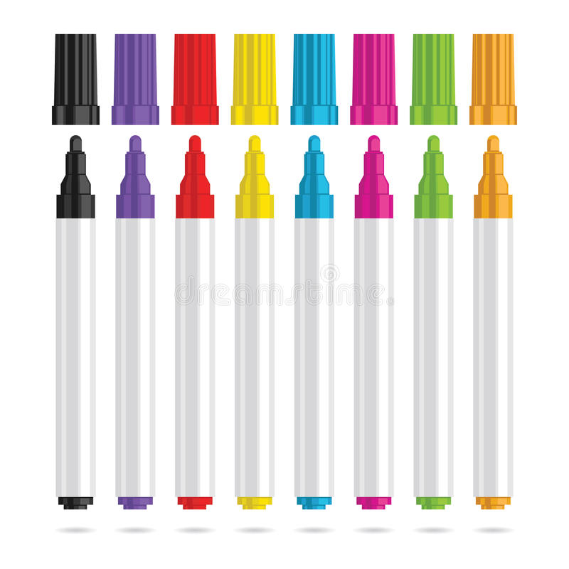 Markörpenna Uppsättning av åtta färgmarkörer stock illustrationer