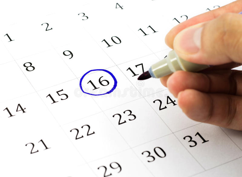 Mark on the calendar at 16. stock photo