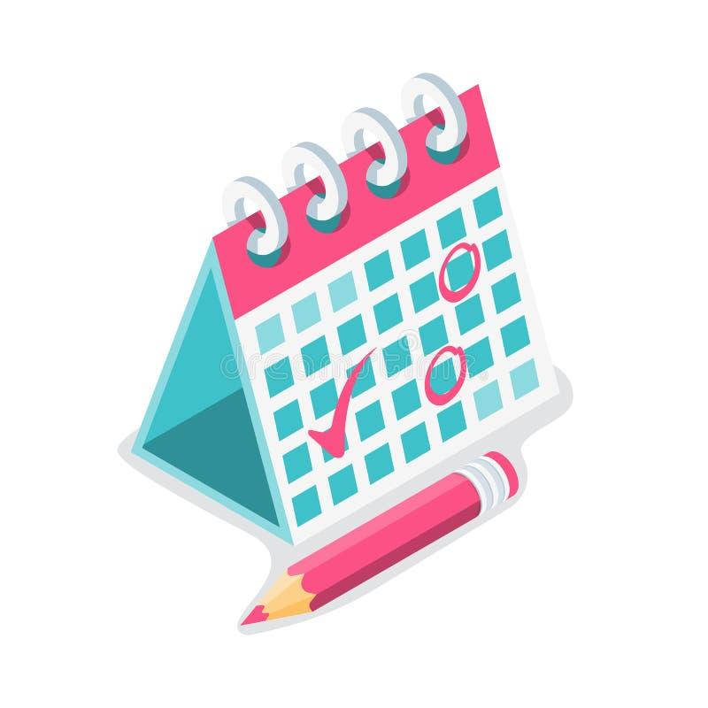 Mark calendar isometric icon. Vector illustration cartoon style stock illustration