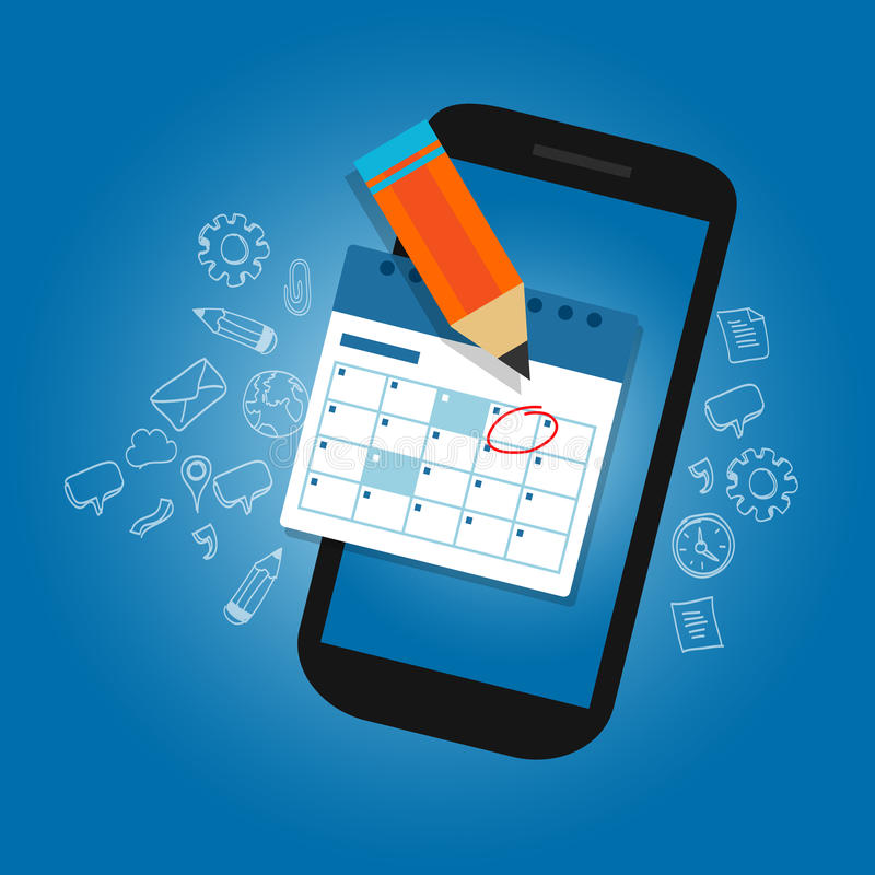 Mark calendar schedule on mobile smart-phone device important dates reminder time organizer plan. Vector stock illustration