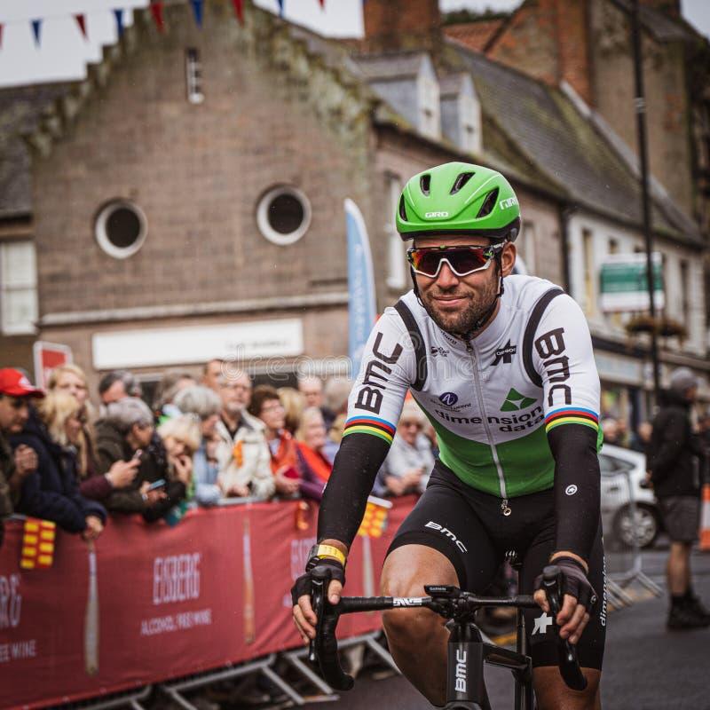 Mark Cavendish au début de la 3ème étape du Tour de Grande-Bretagne 2019 photo stock