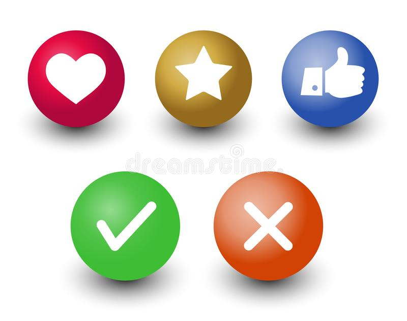 mark check o.k.,cancel, like, voting and rating vector icon set, hand with thumb up, star and heart symbol in color 3d circle bu stock illustration