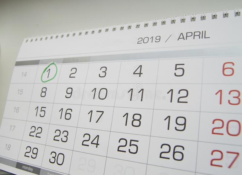 Mark a circle on the calendar date of April 1, the feast of fool`s Day, laugh, humor, jokes.  royalty free stock images