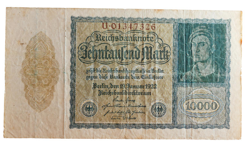 Mark de royaume allemand historique d'inflation photographie stock