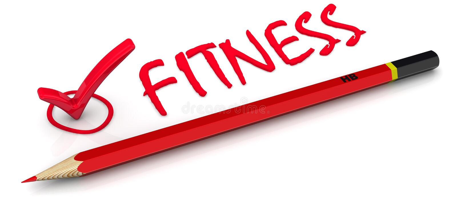 Mark fitness. The red marker, pencil and the word fitness stock illustration
