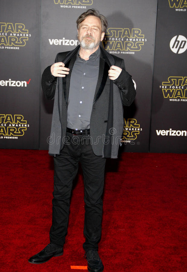 Mark Hamill. HOLLYWOOD, CA - Mark Hamill at the World premiere of 'Star Wars: The Force Awakens' held at the TCL Chinese Theatre in Hollywood, USA on December 14 stock photos