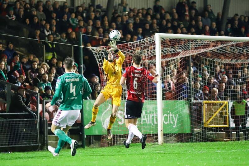 Mark McNulty alla lega della partita prima Cork City FC di divisione dell'Irlanda contro Derry City FC fotografia stock libera da diritti
