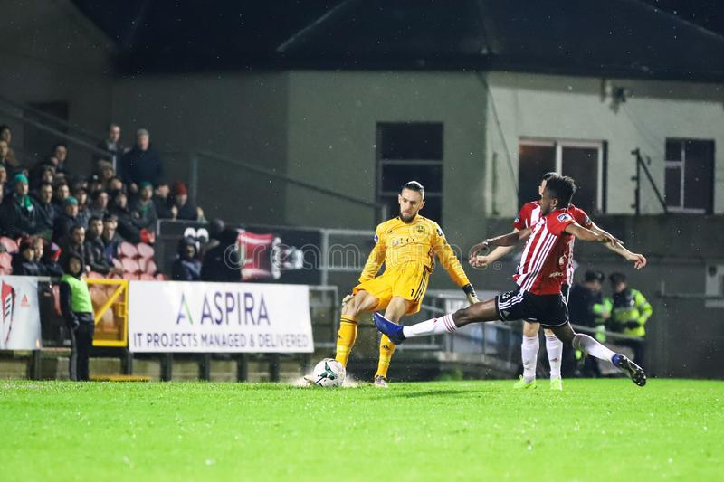 Mark McNulty at League of Ireland Premier Division match Cork City FC vs Derry City FC royalty free stock photos