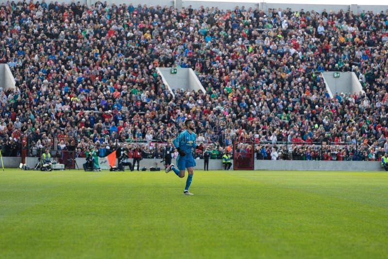 Mark McNulty pendant le match de Liam Miller Tribute image libre de droits