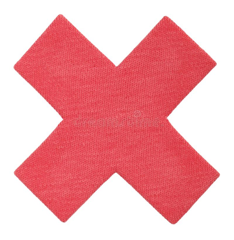 Mark X, red cross of cotton fabric. No icon for your design. Handmade Reject sign isolated on white. Mark X, red cross of cotton fabric. No icon for your design stock photos