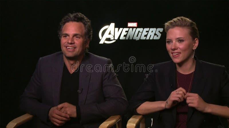 Mark Ruffalo y Scarlett Johansson fotografía de archivo libre de regalías