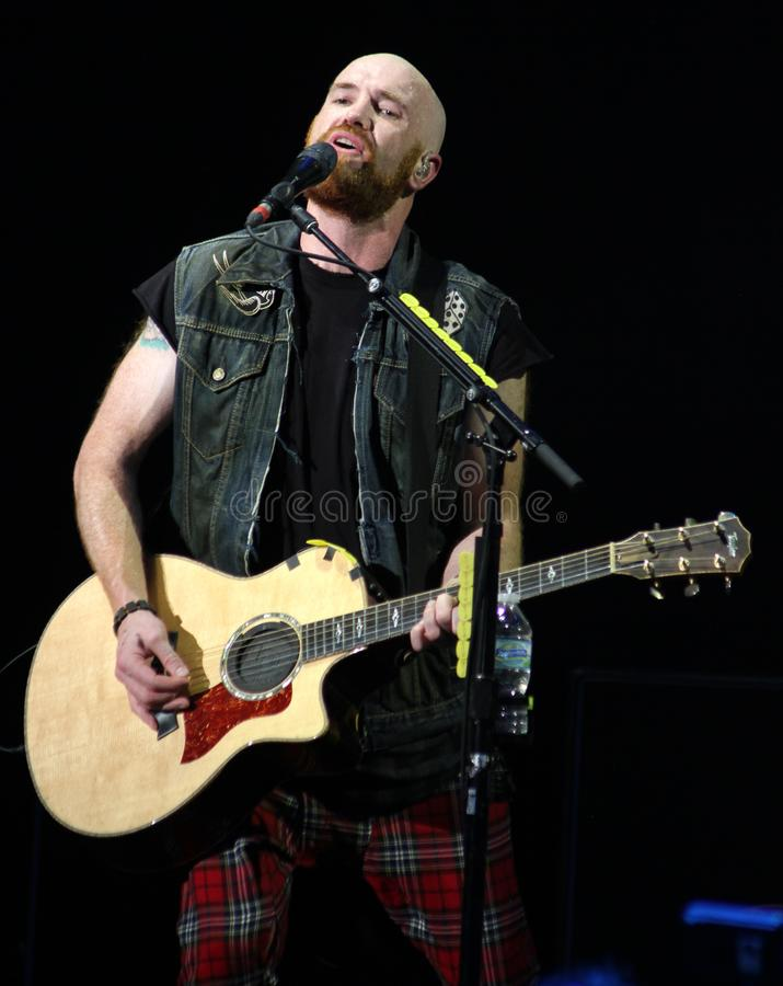 The Script Performs in Concert. Mark Sheehan with The Script performs in concert at the Cruzan Amphitheatre in West Palm Beach, Florida on August 17, 2014 stock image