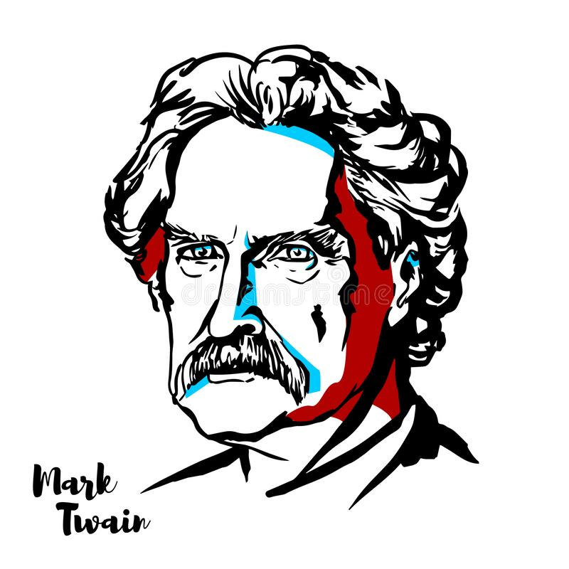Mark Twain Portrait stock illustratie
