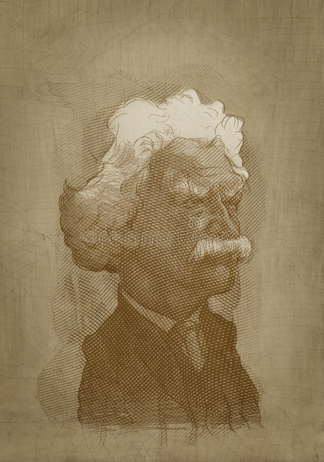 Download Mark Twain Sepia Portrait Engraving Style Editorial Stock Photo - Image: 28544343