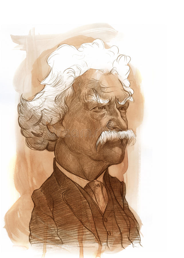 Mark Twain Sketch. Illustration for editorial use for newspapers, magazines and web