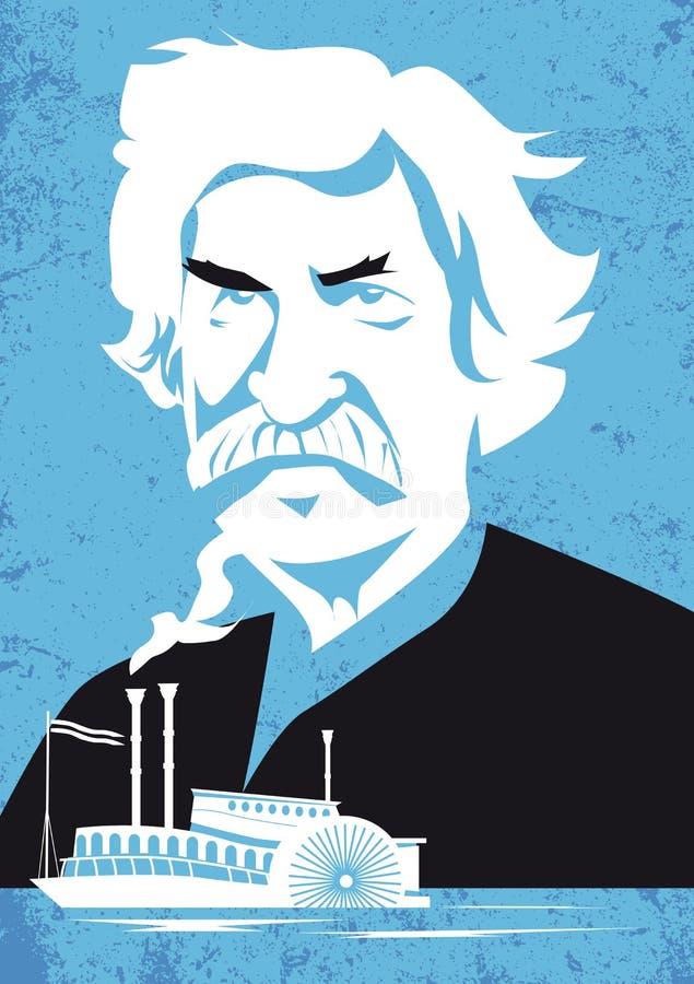 Mark Twain, wektorowy ilustracyjny portret royalty ilustracja