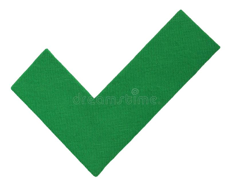 Mark V, tick of cotton fabric, green hook. Yes icon for your design. Handmade Approve sign isolated on white. Mark V, tick of cotton fabric, green hook. Yes icon stock photos