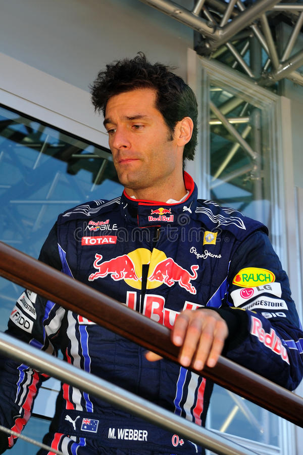 Mark Webber. Red Bull Racing Team Driver, Mark Webber of Australia finished the practice on te circuit of monza royalty free stock photos