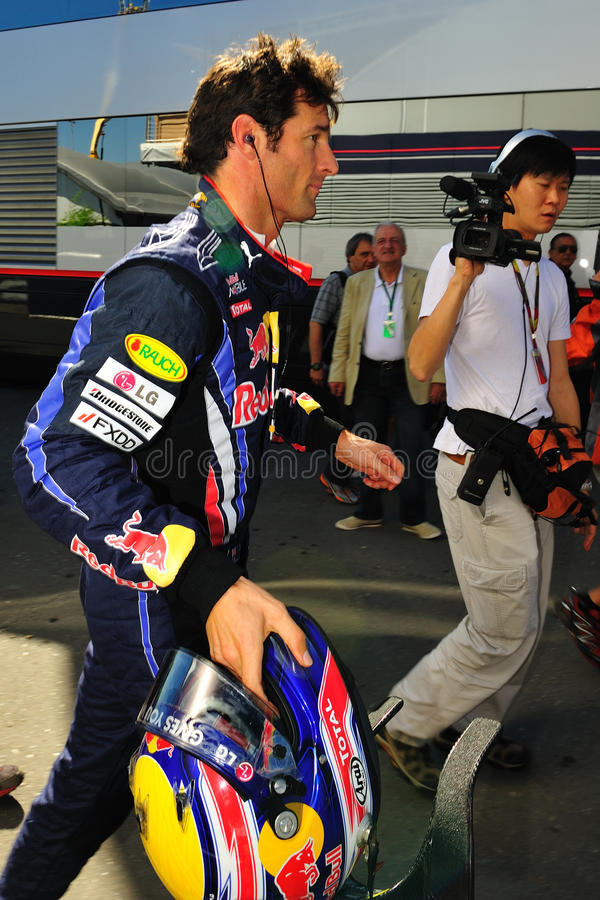 Mark Webber. Red Bull Racing Team Driver, Mark Webber of Australia finished the practice on te circuit of monza stock photography