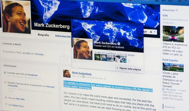 Mark Zuckerberg Oculus Rift-aanwinst stock afbeeldingen