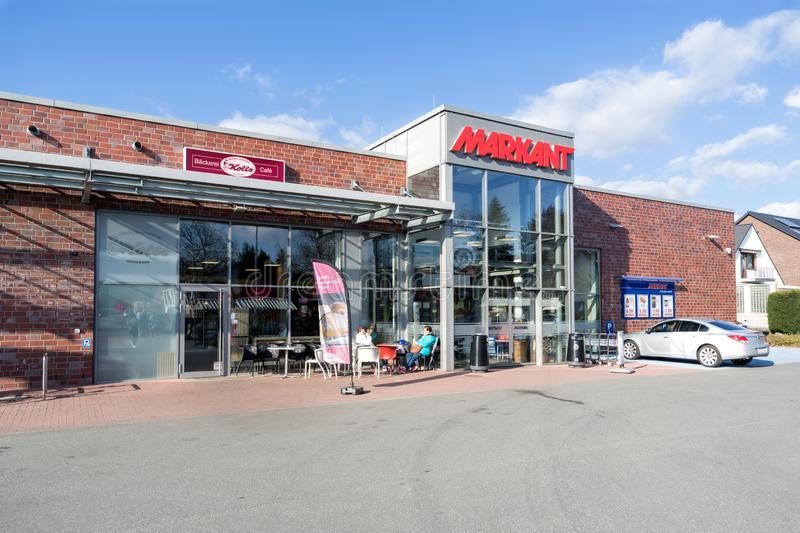 Markant supermarket in Quickborn, Germany. Markant operates over 30 supermarkets in Schleswig-Holstein, Hamburg and Mecklenburg-Western Pomerania royalty free stock photos