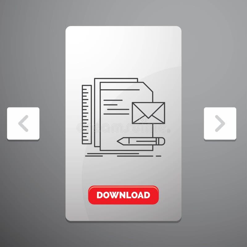 Marke, Firma, Identität, Buchstabe, Darstellung Linie Ikone im Carousals-Paginierungs-Schieber-Entwurf u. roter Download-Knopf vektor abbildung
