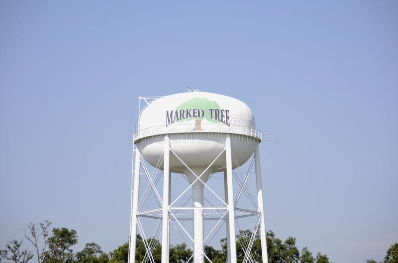 Marked Tree, Arkansas Water Tower. Marked Tree is a city in Poinsett County, Arkansas United States, along the St. Francis River, at the mouth of the Little stock photos
