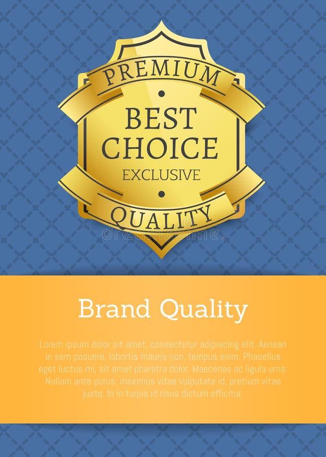 Marken-Qualitäts-exklusiver bester erstklassiger goldener Aufkleber stock abbildung