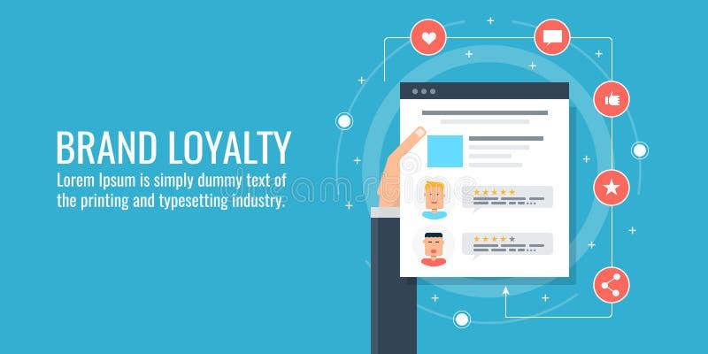 Markenmarketing - Kundenloyalität - Markenidentität - Kundenfeedbackkonzept Flache Designvektorillustration lizenzfreie abbildung