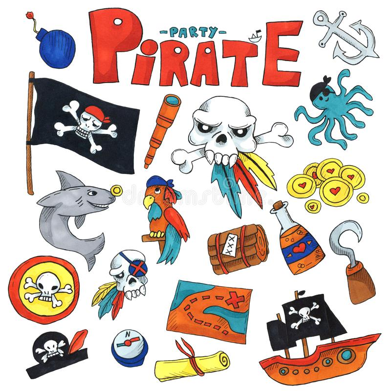Marker art set Pirate party for children Kindergarten Kids children drawing style illustration Picutre with pirate, shark,. Treasure island, treasure map stock illustration