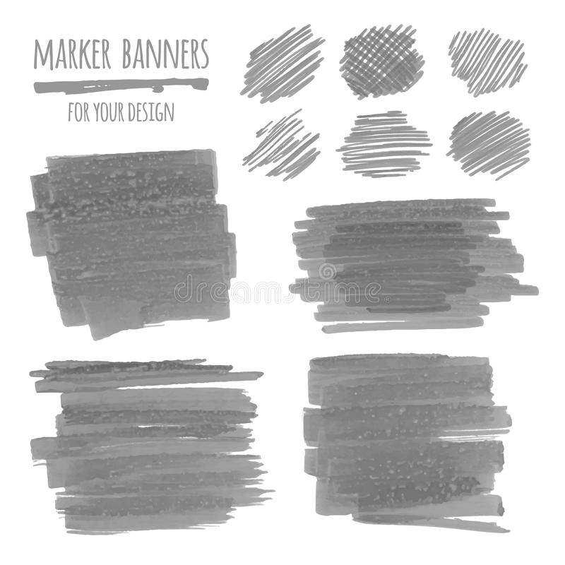 Marker banners, lines and stains. Vector textured design marker banners, lines and stains vector illustration