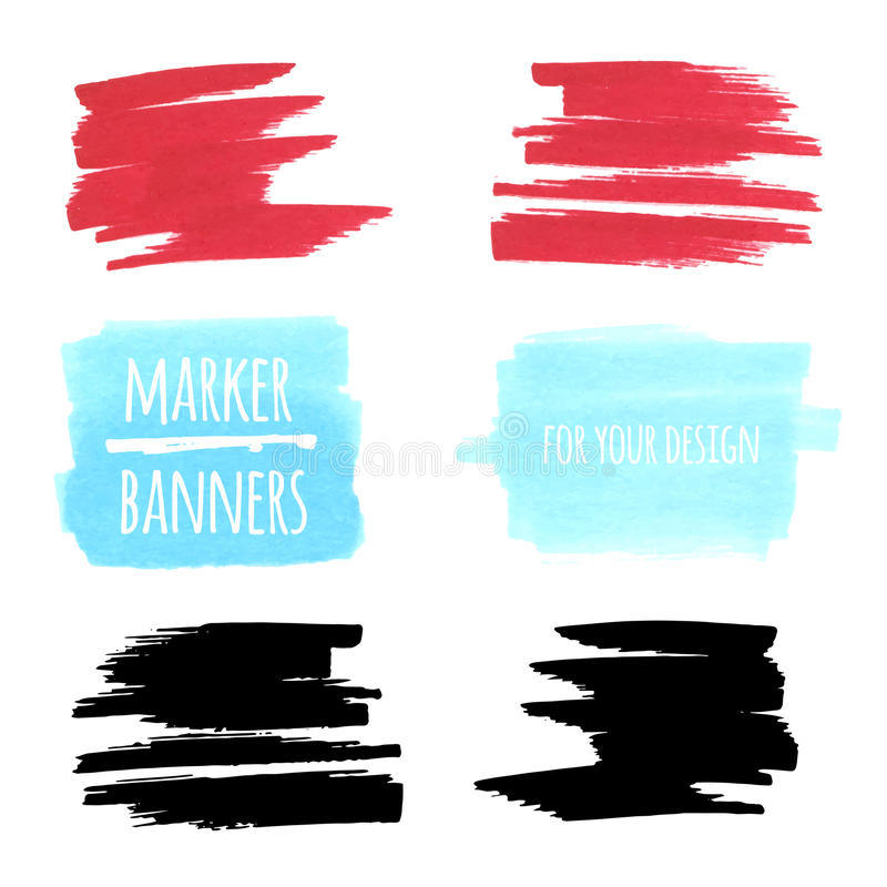 Marker banners, lines and stains. Vector textured design marker banners, lines and stains royalty free illustration
