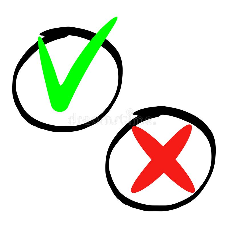 Marker does and dont. Hand drawn marker does and dont icons isolated on white background royalty free illustration