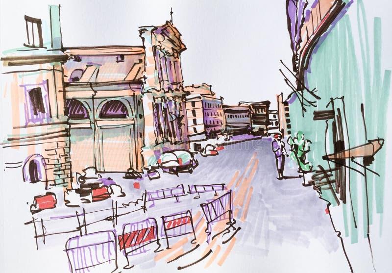 Marker drawing of Rome Italy street landscape, urban sketch stock illustration