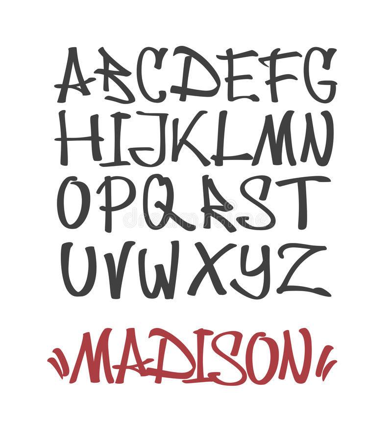 Marker Graffiti Font. Handwritten Typography vector illustration stock illustration