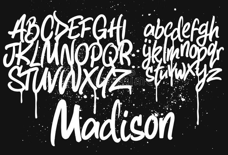 Marker Graffiti Font. Handwritten Typography vector illustration royalty free illustration