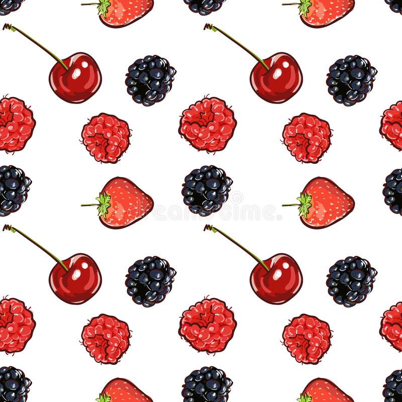 Marker Hand drawn isolated seamless pattern berries banner. Sketched marker food vector. colorful Raspberry, strawberry, cherry vector illustration