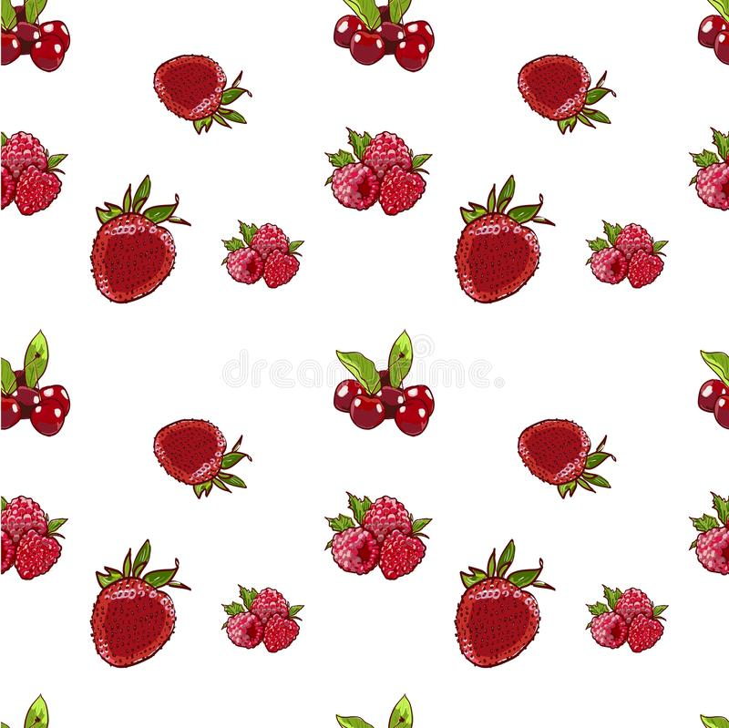 Marker Hand drawn isolated seamless pattern berries on white background banner. Sketched marker food vector. colorful Raspberry, royalty free illustration