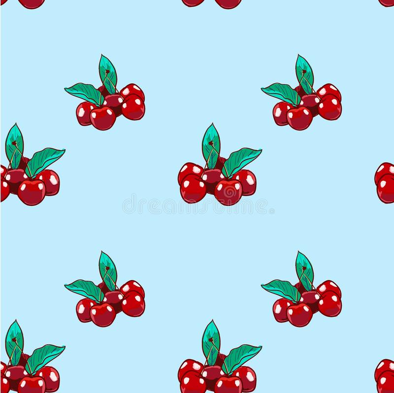 Marker Hand drawn isolated seamless pattern Cherry on blue background banner. Sketched food vector background. Abstract colorful stock illustration