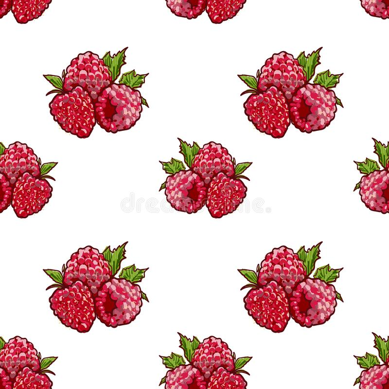 Marker Hand drawn isolated seamless pattern Raspberry on blue background banner. Sketched food vector background royalty free illustration
