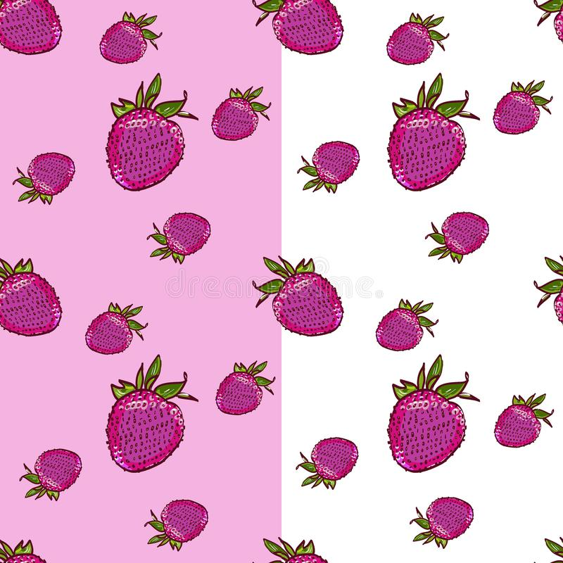 Marker Hand drawn isolated seamless pattern strawberry on white and pink background banner. Sketched food vector. Abstract stock photos