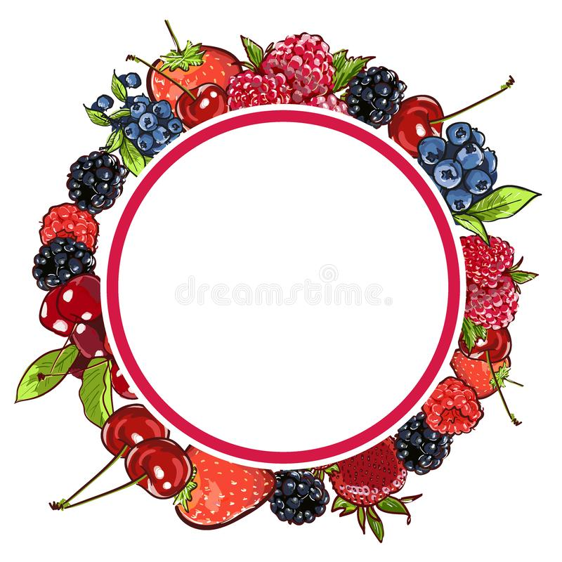 Marker Hand drawn vector eco food organic cafe menu design. Frame with natural fresh berries vector illustration with cherry, stock illustration