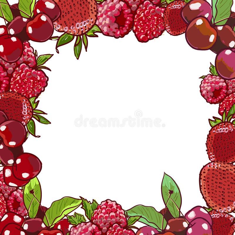 Marker Hand drawn vector eco food organic cafe menu design. Frame with natural fresh berries vector illustration with cherry, royalty free illustration