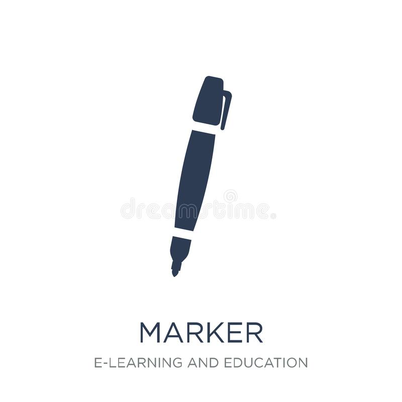 Marker icon. Trendy flat vector Marker icon on white background. From E-learning and education collection, vector illustration can be use for web and mobile stock illustration